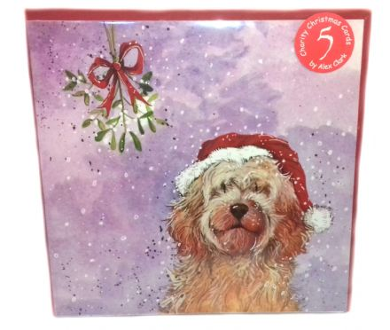 Alex Clark Pack of 5 Charity Christmas Cards with a Cockapoo design